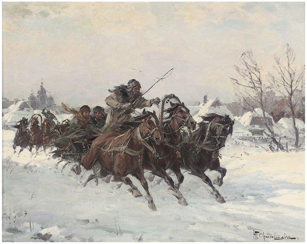 Вадислав Т. Хмелиньский. Гонки троек по снегу.